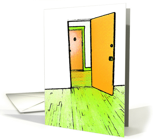 new address announcement : comic doorway card (745250)
