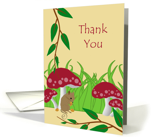 Thank You for Kindness, Cute Field Mouse and Toadstools... (1387876)
