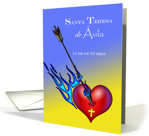 Feast Day of St. Teresa of Avila in Portuguese, Heart and Arrow card