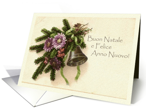 Vintage Christmas in Italian, Greens and Bell, Buon Natale card