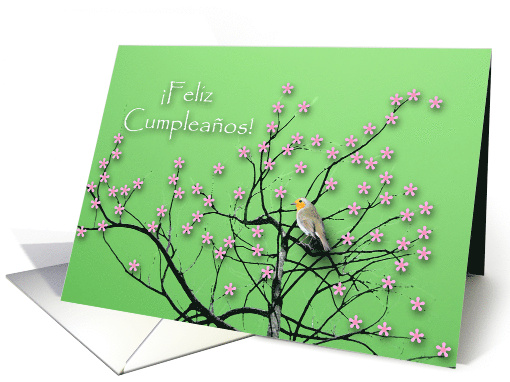 Spanish Birthday, Bird and Blossoms, Feliz Cumpleanos card (742838)