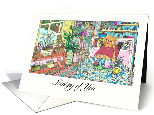 Thinking of You, Illustration of Striped Cat at Table card (949866)