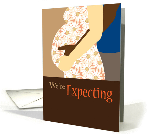 Pregnancy Expecting Announcement, Interracial Couple card (864213)
