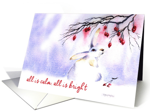 Christmas Hare and Berries card (1545786)