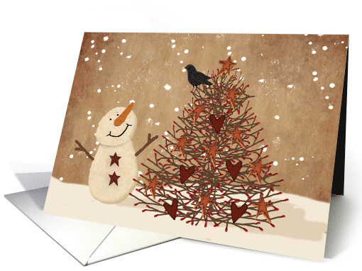 Primitive Snowman And Christmas Tree card (1464860)