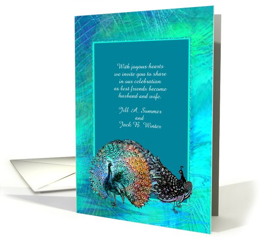 Blue Green Peacock Wedding Guest Invitation card (908157)