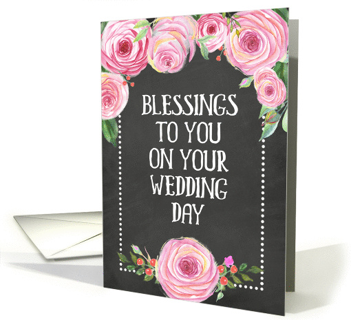 Pink Roses Chalkboard Wedding Blessings card (1423664)