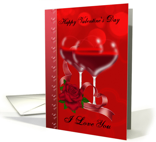Valentine's Day Card With Heart Shaped Red Wine Glasses card (1013805)
