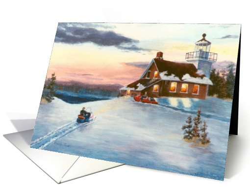 Lighthouse and Snowmobiles card (302416)