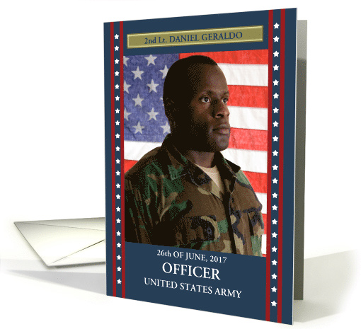Commissioned Officer in the Army Custom Photo Announcement card