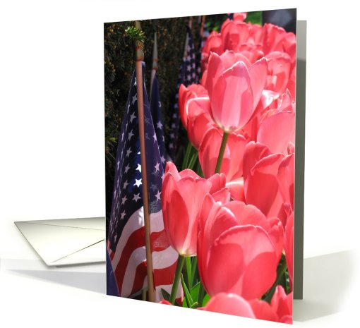 American flag and tulips card (427427)