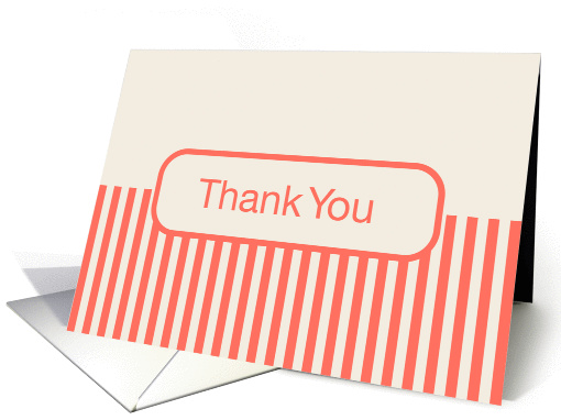 Off White Cream with Coral Stripes Blank Inside Thank You card