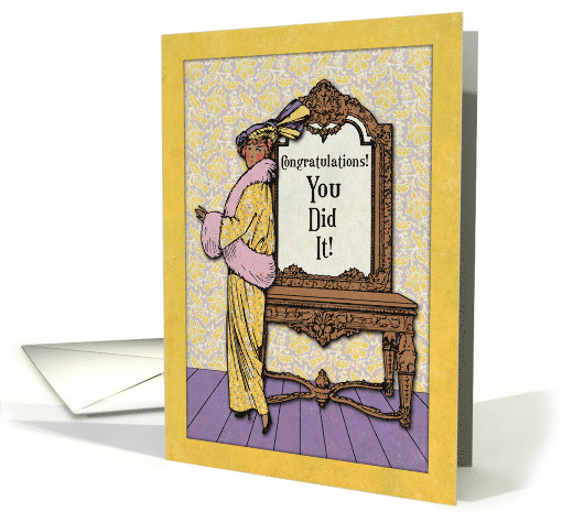 Congratulations! You Did It! Vintage Lady with Floral Patterns card