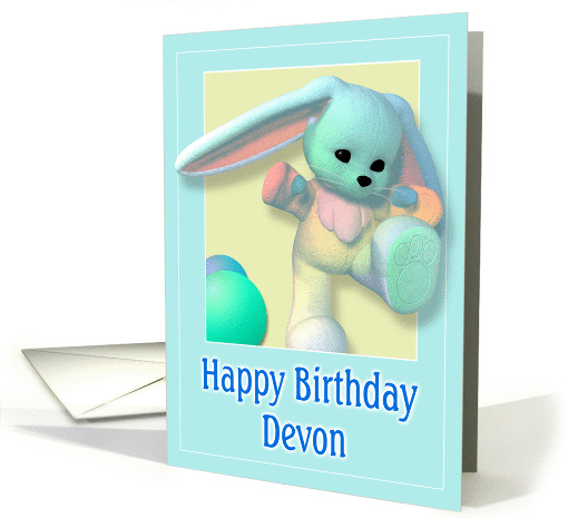 Devon, Happy Birthday Bunny card (386724)