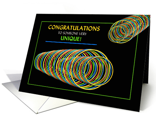 Congratulations, Abstract, Colorful Neon Circles card (1513122)