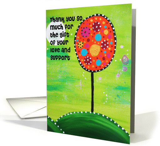 Love & Support Colorful dotted tree with green night sky and moon card