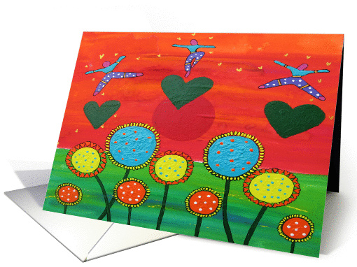Colorful painted flowers, gold hearts, sun and colorful figures card