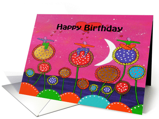 Happy Birthday - Colorful painted flowers & Figures, Red Hearts card
