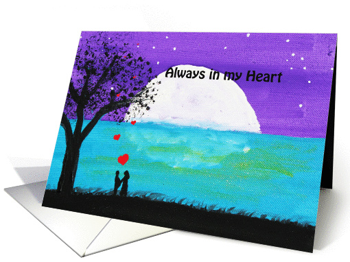 Lovers by the Ocean - Painting-  Always in my Heart card (696270)