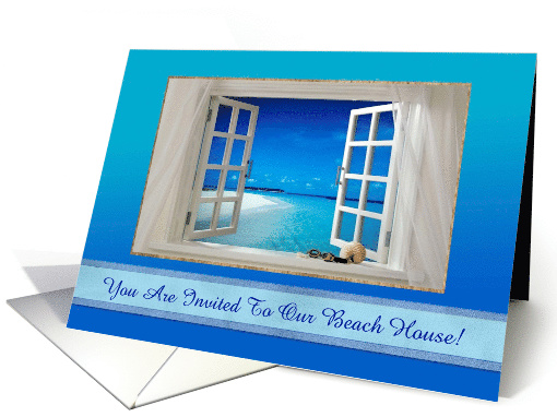 Beach House Invitation, Ocean View Out the Window of the... (1473950)