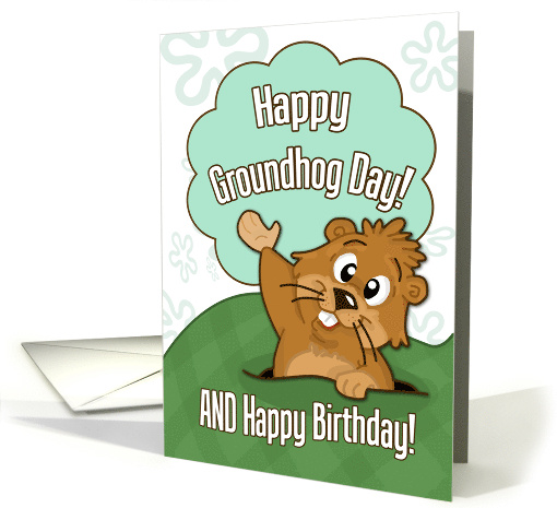 Happy Groundhog Day and Birthday- Cute Groundhog Illustration card