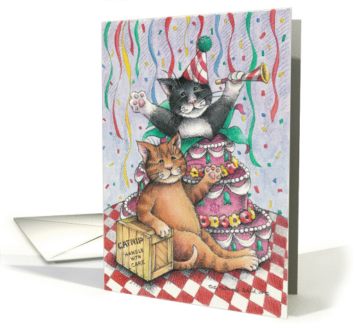 Cat Popping Out Of Cake Birthday (Bud & Tony) card (366840)
