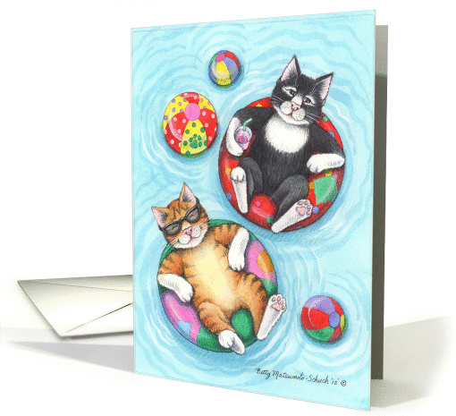 Swimming Pool Party Cats Invite (Bud & Tony) card (934595)
