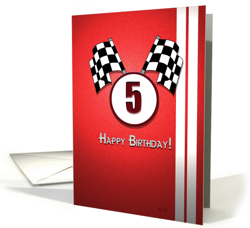 Red Racing Birthday: 5 card (823043)