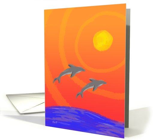 Anniversary: Dolphin Sunset card (669124)