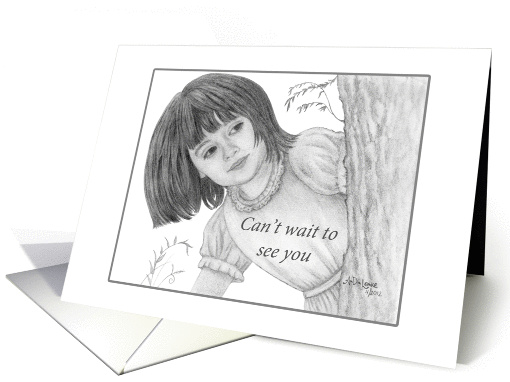 Can't Wait To See You - Girl Behind Tree Pencil Drawing card (939671)