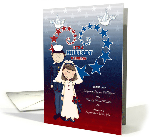 Military Wedding Invitation Stars and Stripes card (1013497)