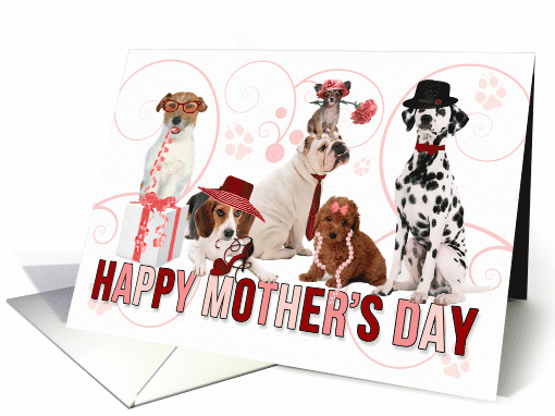 Happy Mother's Day for Dog Lover in Pink and Red card (1032519)