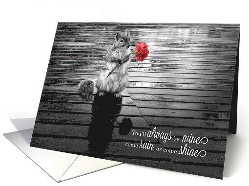 Valentine's Day Squirrel with Carnation Black and White card (1068135)