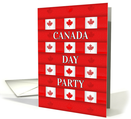 Canada Day Party Maple Squares Pattern in Red and White card (1110798)