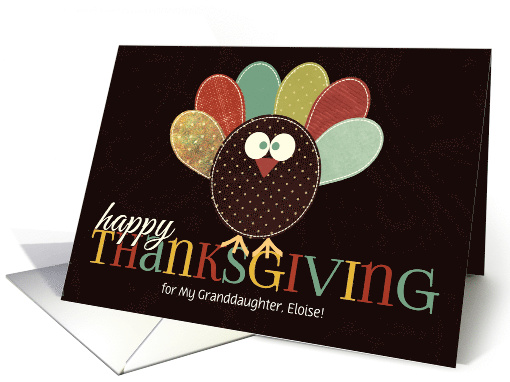 for Granddaughter Thanksgiving Silly Patchwork Turkey card (1152290)