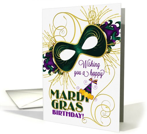 Birthday on Mardi Gras wih a Violet, Gold and Green Mask card