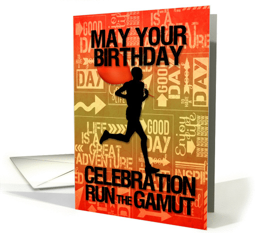 Birthday Male Runner Sport Theme in Orange and Golds card (1232694)
