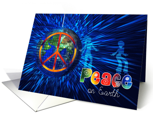 Peace on Earth - Retro Peace Sign and Tie Dye Hippie Theme card