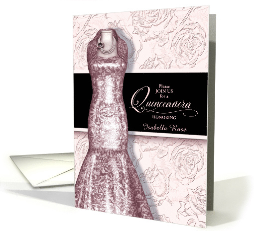 Quinceanera Invitation in Blush Pink with Roses Custom card (1508322)