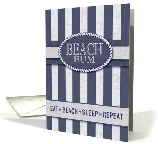 Beach Bum Birthday in Nautical Stripes of Denim Blue and... (1516514)