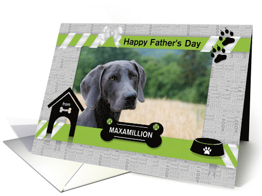 from the Dog Fun Father's Day Green and Black with Pet's Photo card