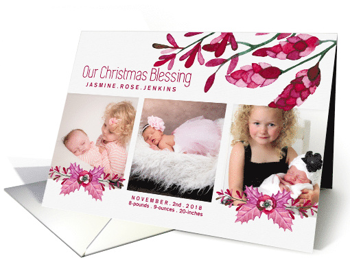 Christmas Blessing Birth Announcement Botanical Pink 3 Photo card