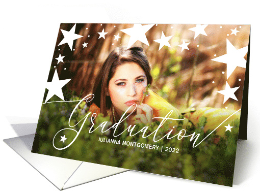 Graduation Announcement with Stars Graduate Photo card (1563854)