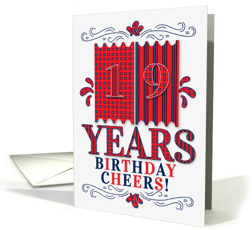19th Birthday for Boys or Girls in Red and Blue Patterns card