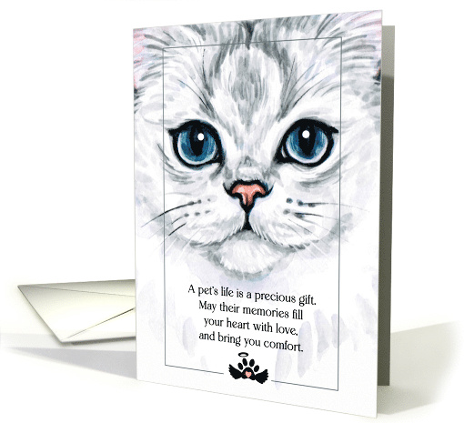Loss of a Cat Pet Sympathy Siamese Blue and White Sentimental card