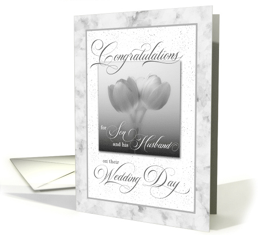For Son and His Husband on Their Wedding Day Blue Tulips card (431587)