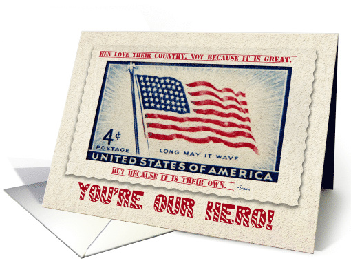 Confederate Memorial Day You're Our Hero U.S. Flag card (612453)