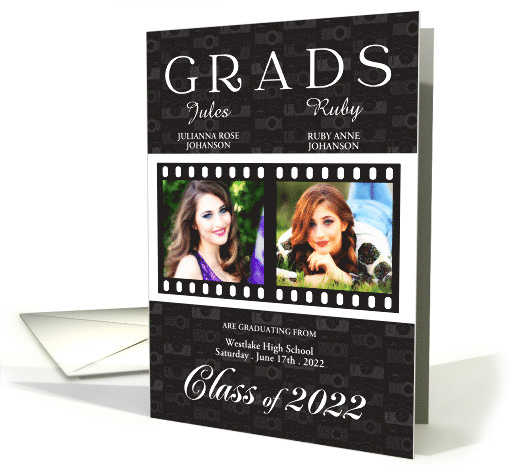Twin Graduation in Red Class of 2017 Film Theme Twin's Photos card