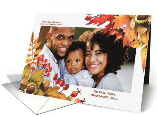from Our House to Yours Autumn Thanksgiving Custom Photo card (852216)