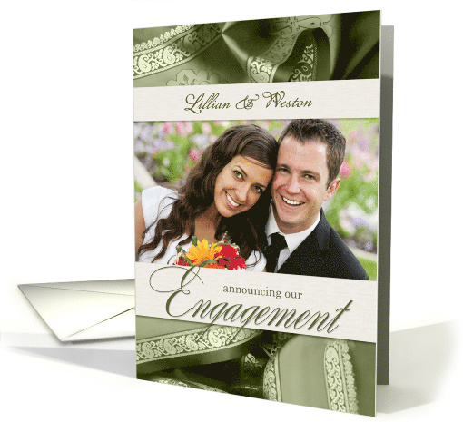 Engagement Announcement with Photo in Sage Green and Cream card